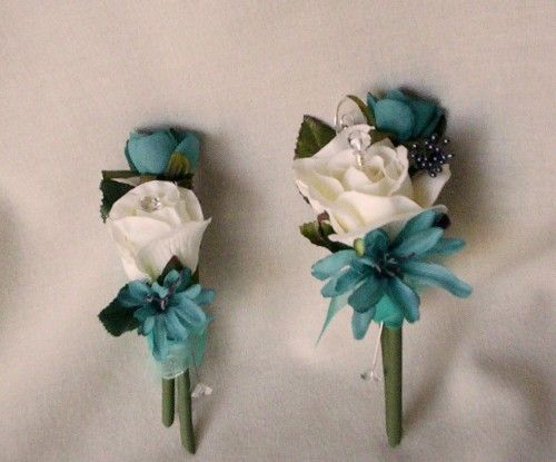 Teal wedding Flowers Silk Corsages and Boutonnieres bridal accessories