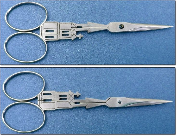 Fab Cathedral Shaped Hand Made Steel Embroidery Scissors. 1960s