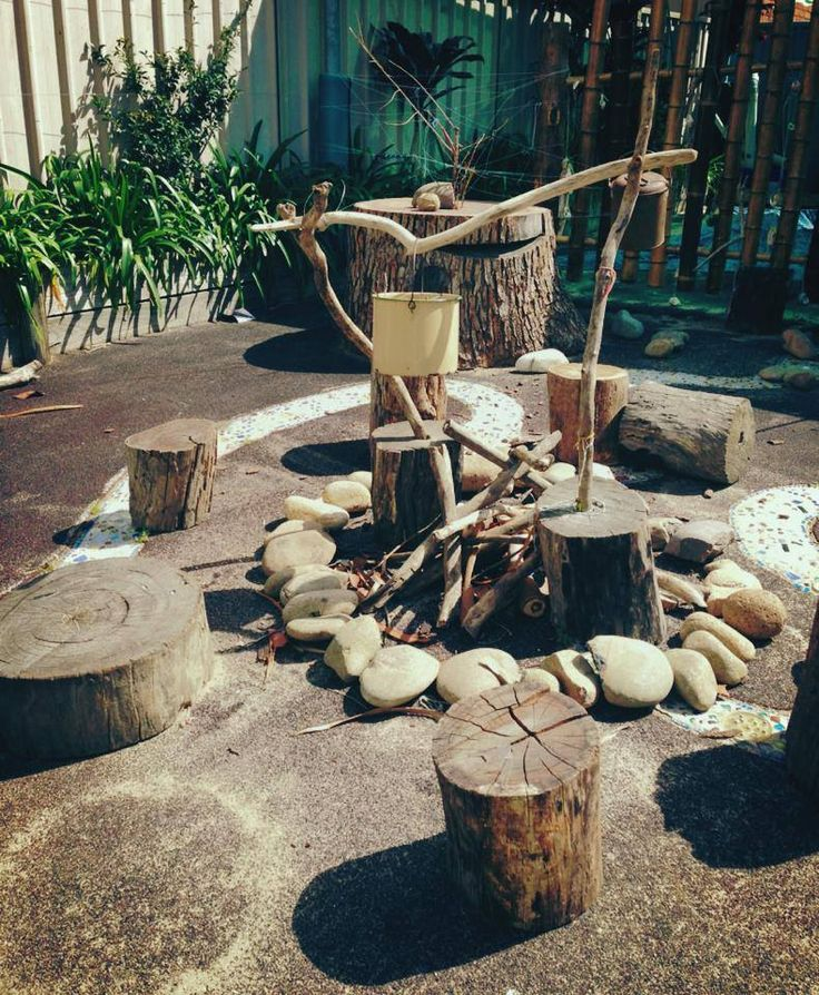 Loose parts in the playground - Elder Street Early Childhood Centre ≈≈ http://www.pinterest.com/kinderooacademy/preschool-outdoor-play-environments/