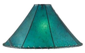Turquoise rawhide leather lamp shade..