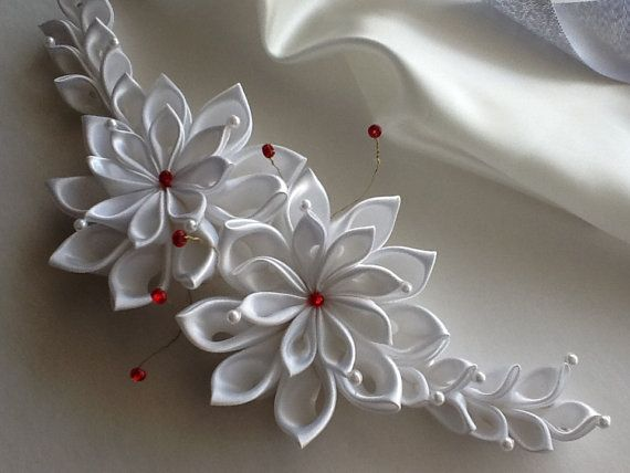 Hair Clip - White Kanzashi Flowers with White Pearls and Red Glass Beads / Bridal Headpiece Wedding Hair Accessories  Bridal Kanzashi LihiniCreations