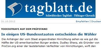 "Taglbatt, a German newspaper, referenced Death Penalty ProCon.org in an article titled ""In einigen US-Bundesstaaten entscheiden die Wähler,"" translated as ""In Some US states, the Voters Decide."""