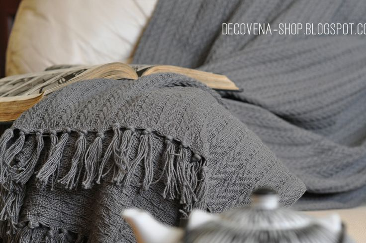 Grey woven cotton throw / blanket