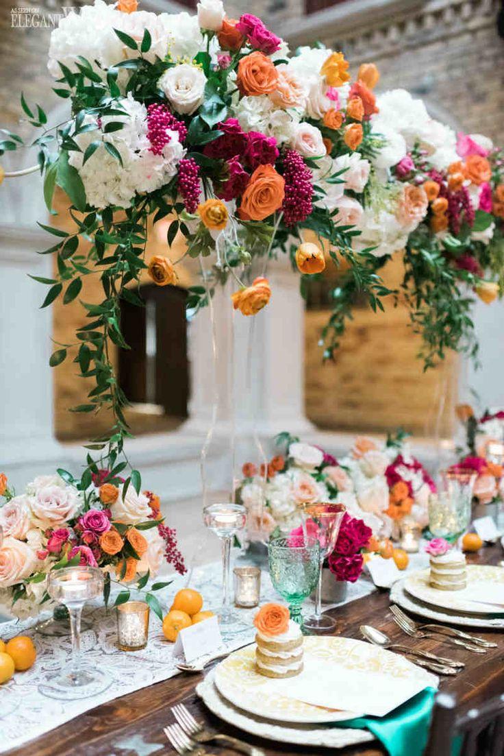 Spanish-Inspired Wedding Table Setting With Hanging Greenery www.elegantwedding.ca