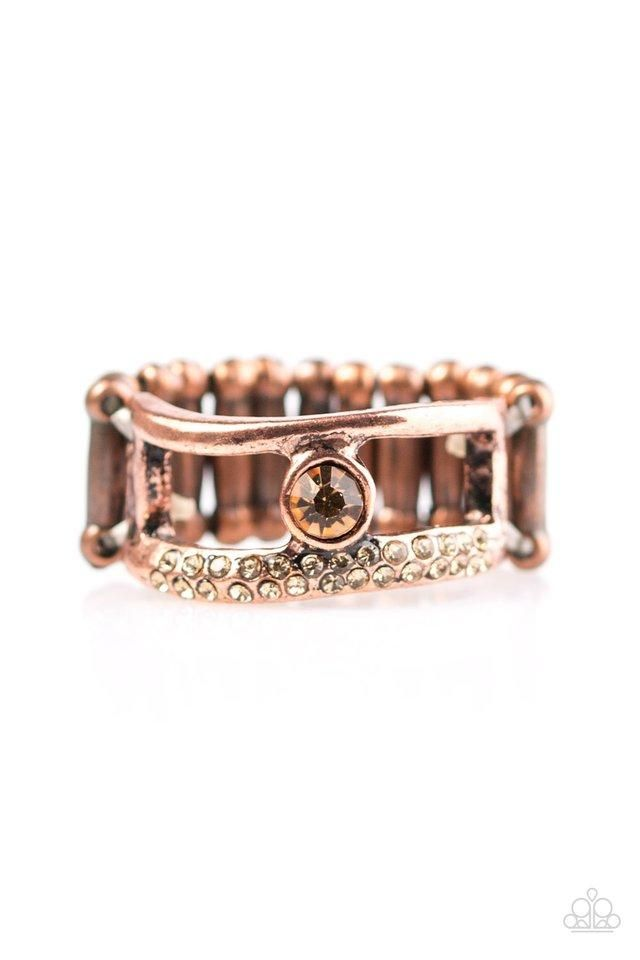 "Paparazzi ""Be The Sparkle"" Copper Frame Topaz Rhinestone Ring"