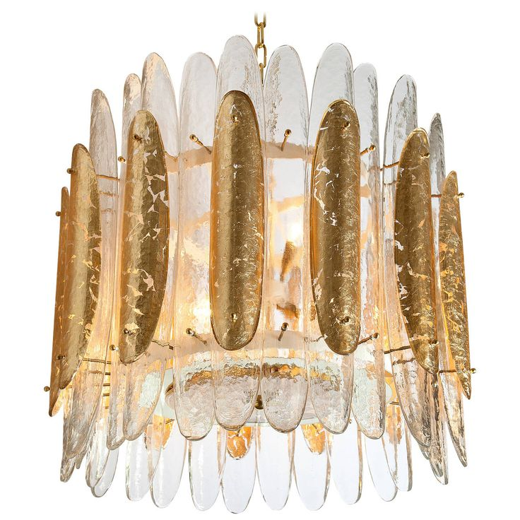 Barovier & Toso Gold Leaf Chandelier, 1970s | From a unique collection of antique and modern chandeliers and pendants at https://www.1stdibs.com/furniture/lighting/chandeliers-pendant-lights/