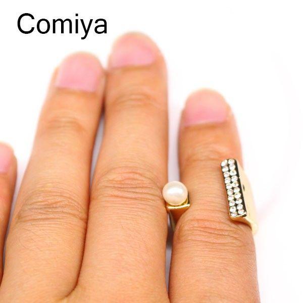 2015 Comiya украшения новинка щепка изогнутые металлические обручальное открыть жемчуг кристалл стразы кольца для женщин ювелирные изделия анель де ору, принадлежащий категории Кольца и относящийся к Ювелирные изделия на сайте AliExpress.com | Alibaba Group