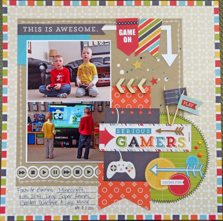 Serious Gamers - Scrapbook.com - Echo Park's That's My Boy collection is perfect for documenting the gamers in your life!