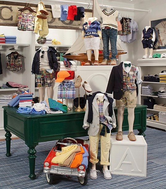 Ralph Lauren Children Store in New Canaan. I think this style is Preppy/Nature American boy. I do like how he used as much space for inventory.