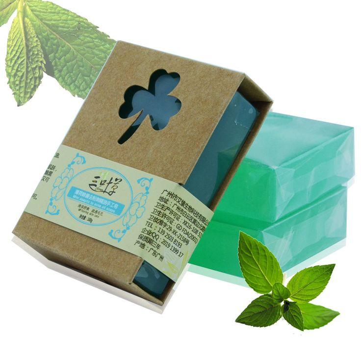 100g Herbal Mint Sabun Handmade Kontrol Minyak Sayur Murni Keren Konvergensi Pori-pori Pembersihan Sabun Mandi Sabun Penggunaan Umum
