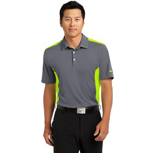 NikeGolf Dri-FITengineered mesh polo. Fold away those sweaters and break out the polos, this modern style has contrasting mesh panels on the sides  shoulders and yoke for stretchable  breathable performance. Dri-FIT moisture management technology keeps moisture at bay. Design details include a self-fabric collar with contrast mesh under collar, three-button placket and open hem sleeves. The contrast Swoosh design trademark is embroidered on the left sleeve.
