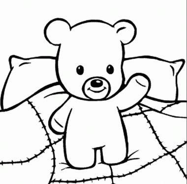 oso animado para colorear para niños