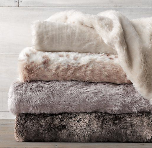 Luxe Faux Fur Stroller Blanket-grey fox color or arctic fox