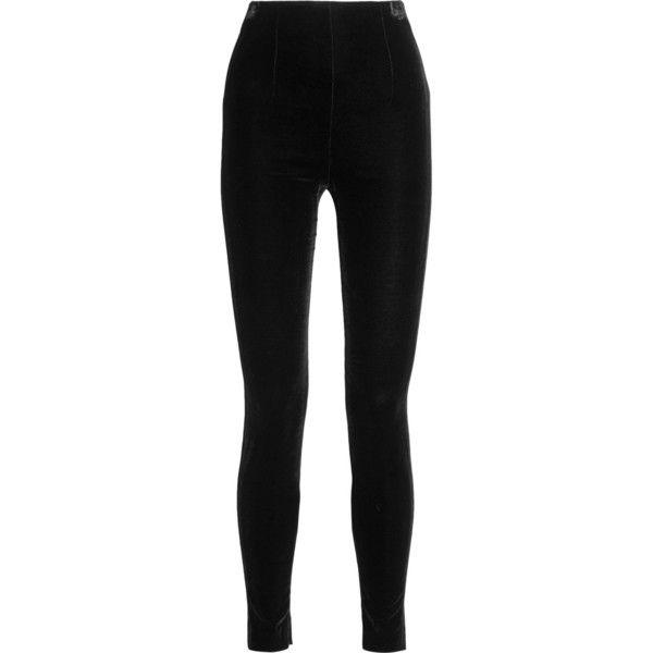 Balmain Velvet leggings (62,310 DOP) ❤ liked on Polyvore featuring pants, leggings, bottoms, calças, trousers, zipper pants, polka dot leggings, high-rise leggings, shiny leggings and high-waisted pants