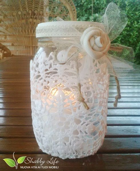 candela in vasetto con centrino