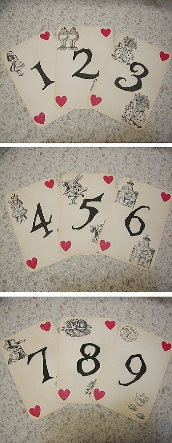 alice in wonderland wedding table cards.  I would like these, but I was also thinking about naming tables for characters or places within wonderland