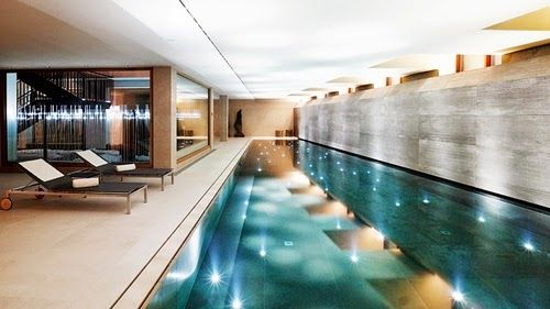 Large Indoor Swimming Pool in Modern House Architecture