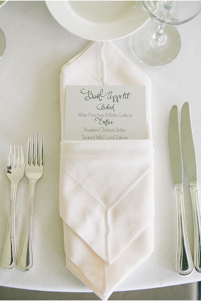 Lovely napkin fold with menu card | A San Francisco Wedding at Fort Mason General's Residence by onelove photography via StyleUnveiled.com