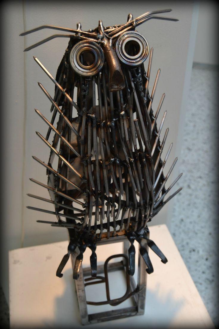 Pöllö - an owl - scrap metal art
