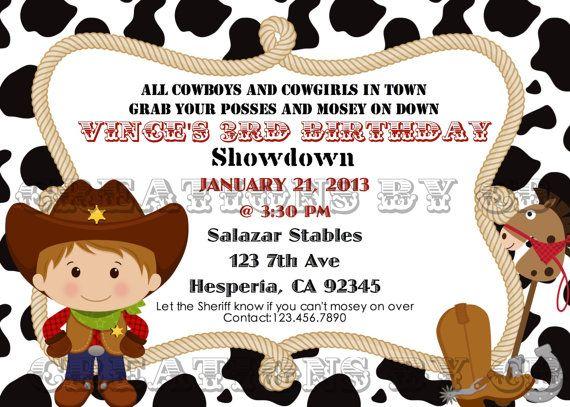 Cowboy Birthday Invitation Western Birthday by CreationByCB, $10.00