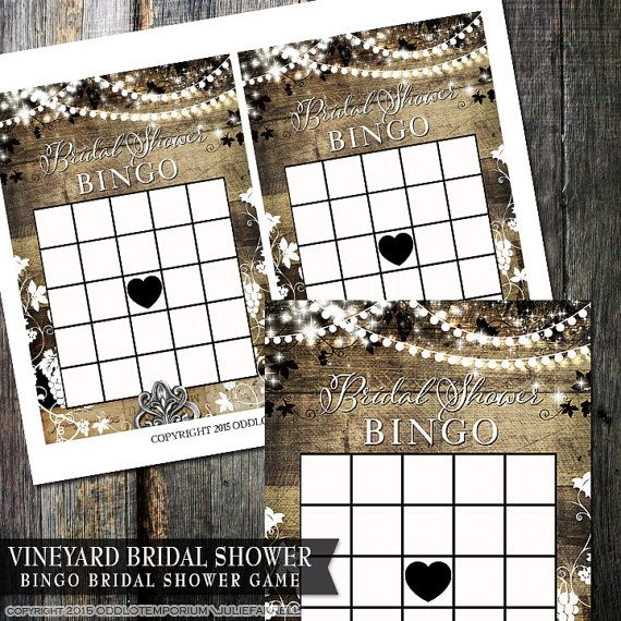 Bridal Shower Bingo Game  Rustic Vineyard Winery by OddLotEmporium #bridalshower #bingo #games