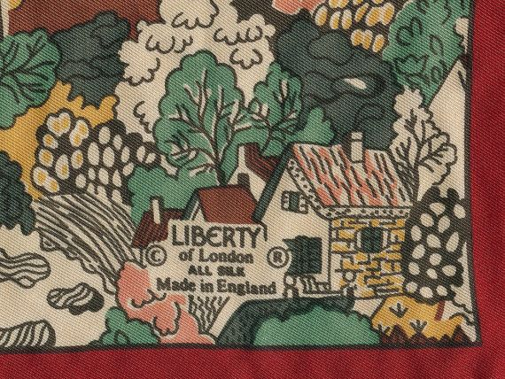 Little Cottages Liberty Vintage Scarf silk by merrirose on Etsy