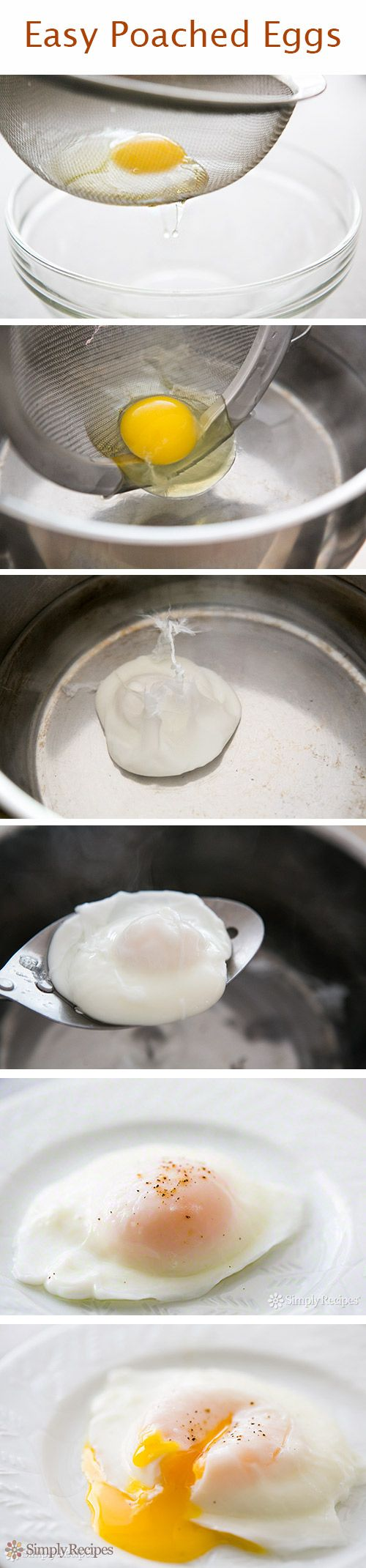 Cool tip for making poached eggs—use a sieve! Directions on SimplyRecipes.com