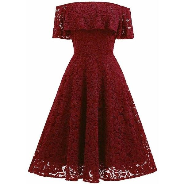 Changuan Women's Vintage Floral Lace Off Shoulder A-Line Cocktail... ($29) ❤ liked on Polyvore featuring dresses, holiday party dresses, a-line cocktail dresses, red off the shoulder dress, red cocktail dress and off-the-shoulder lace dresses