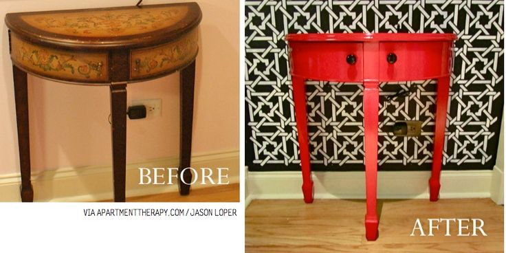 Red table Before & After-- I don't know if I would have felt good about painting over the before, but the after looks great.