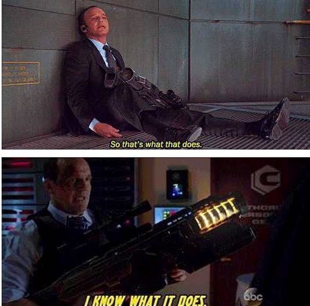 The was one of THE best parts of the Agents of SHIELD season 1 finale ! Ohhh Coulson!