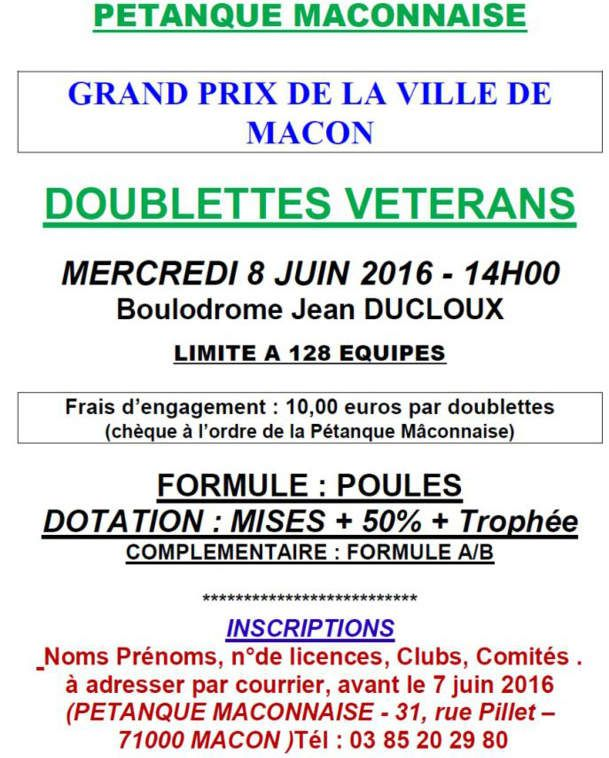 Un grand concours de pétanque vétérans à Mâcon.