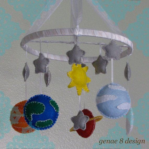 Felt Planet Mobile Felt Solar System Baby Mobile by genae8design, $55.00