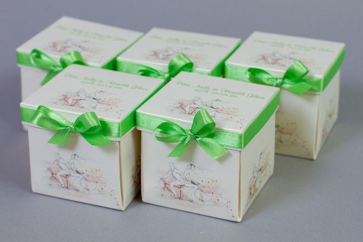 Bicikliző pár, szalagos dobozos esküvői meghívó _ cycling couple box wedding invitations