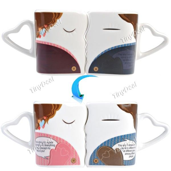 Heat Sensitive Color Changing Lovers Kiss Pattern Porcelain Coffee Lovers  Mug
