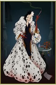 CRUELLA DeVIL - this iconic main antagonist with half white and half black hair uses the skin of 99 dalmatian puppies for a fur coat. Her protruding jaw, bony cheeks and smoke addiction demonstrate the link between an evil character and unwanted features.