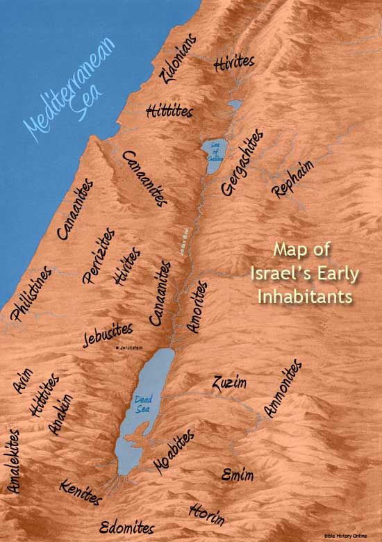 Map of Israel, Canaan and Israel's Ancient Inhabitants - Shows where dif peoples lived. See Genesis 15's end for lands God promised... all occupied by people whose worship of false god included evil, killing babies, hurting poor people and women. YHWH Jehovah's reputation is slammed by people calling Him cruel in the Old Testament. His judgments were to STOP evil, as seen in so many laws of kindness to those held as slaves, to children + old people.