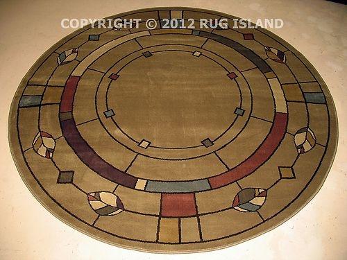 5 Round William Morris Arts Crafts Mission Style Lodge Olive Green Area Rug    EBay