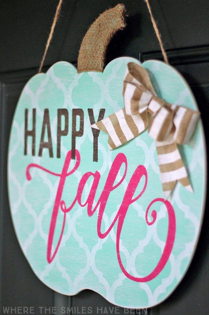 Shabby Chic Happy Fall Pumpkin Door Hanger: My Girly Gourd! | Where The Smiles…