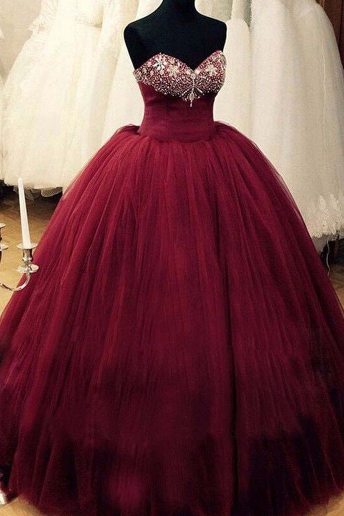 Beaded burgundy tulle prom dress, evening gown, prom dresses for teens