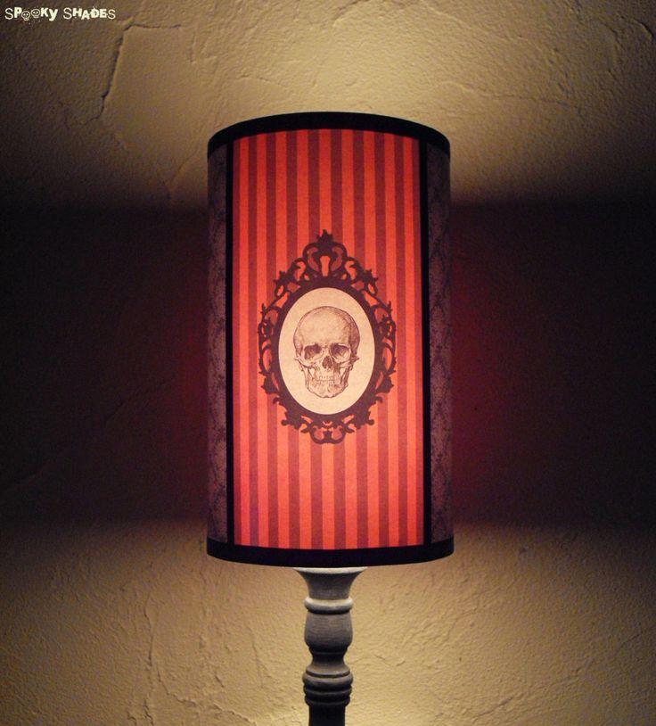 Baroque Skull Orange Lamp Shade Lampshade - Halloween light,skull lamp shade,skull housewares,Halloween decor,customizable colors,goth decor by SpookyShades on Etsy https://www.etsy.com/listing/41731168/baroque-skull-orange-lamp-shade