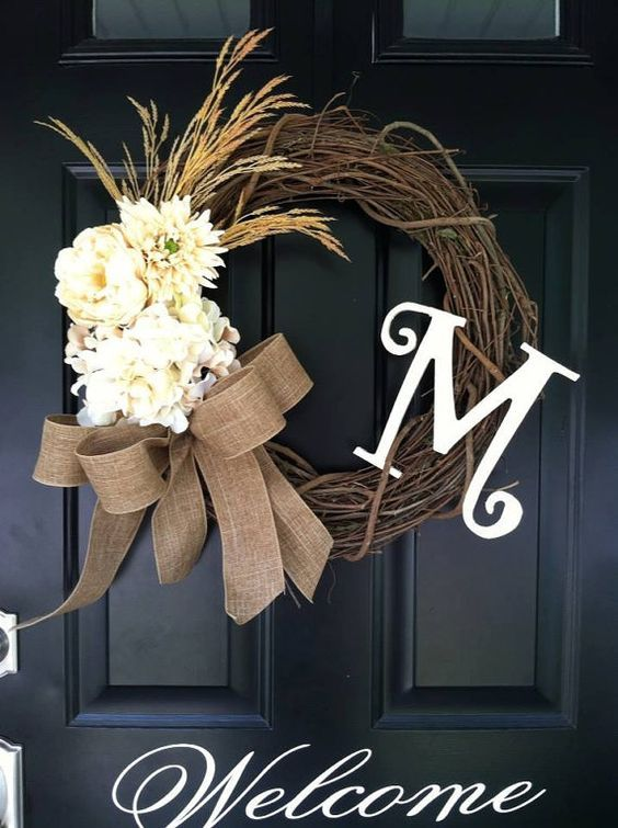 Fall Wreath - Autumn Wreath - Harvest Wreath - Wheat , Hydrangea , Mum , Cream flowers , Monogrammed , Late Summer Wreath , Country Wreath on Etsy, $55.00: