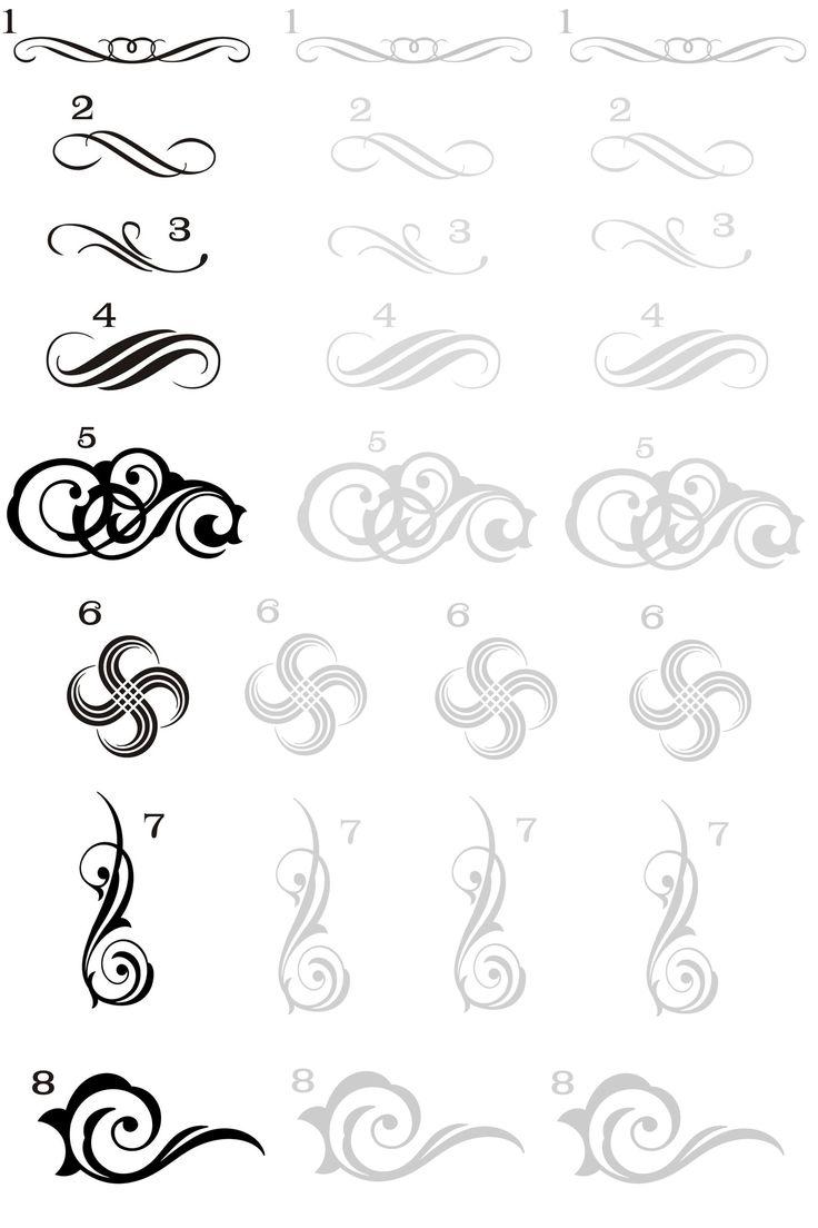 Вензеля на ногтях – как нарисовать вензель. Тренировочные листы
