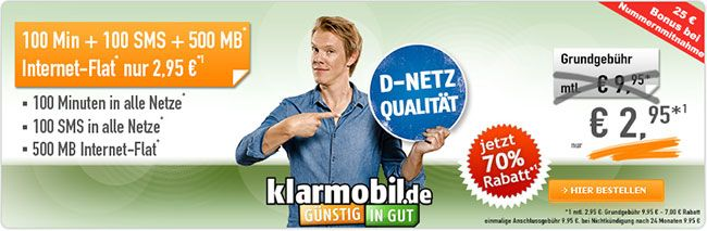 Handyvertrag für 2,95€ mit 500MB Internet Flat ➕ 100 Minuten http://www.simdealz.de/vodafone/klarmobil-smart-flat-500mb/