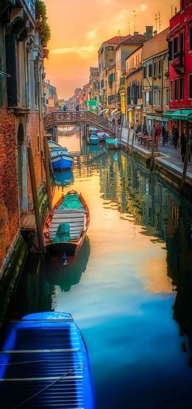 Romantic travel destinations - Venicimo Canal Sunset - Venice, Italy