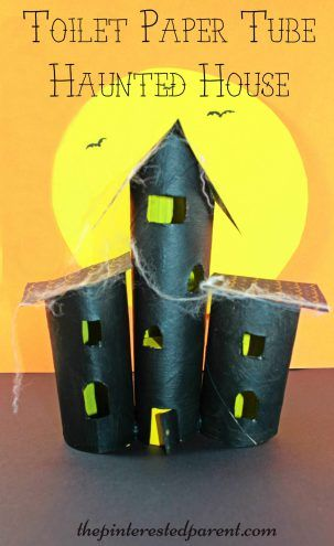 Paper Towel Roll And Toilet Paper Tube Haunted House Craft