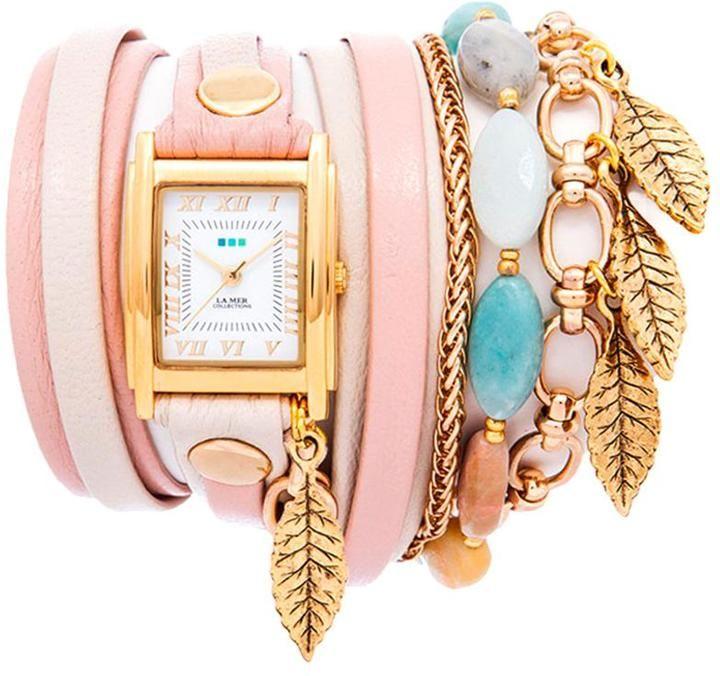 La Mer Aspen Leaf Goldtone Chain and Charm 2-tone Leather Wrap Watch