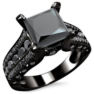 14k Gold 3ct TDW Certified Princess Cut Black Diamond Ring | Overstock.com Shopping - The Best Deals on Engagement Rings