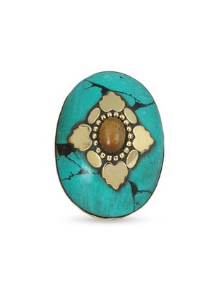 turquoise brass hand ring - Online Shopping for Rings