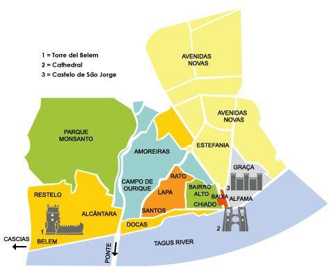 Gebieden In Lissabon Lissabon Op De Kaart Touristways - Lisbon portugal neighborhoods map