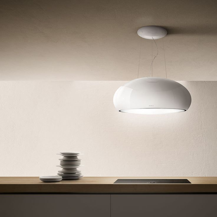 Island extractor hood / original design / with built-in lighting SEASHELL by Fabrizio Crisà Elica